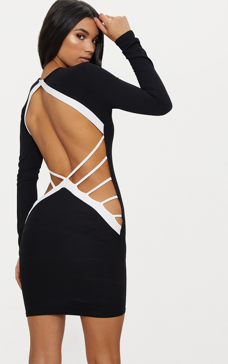 Monochrome Backless Strap Detail Bodycon Dress 1