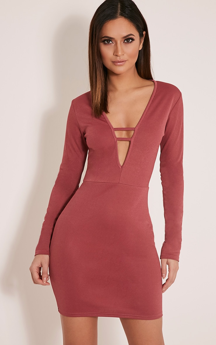 Arya Rose Strap Detail Plunge Bodycon Dress 1