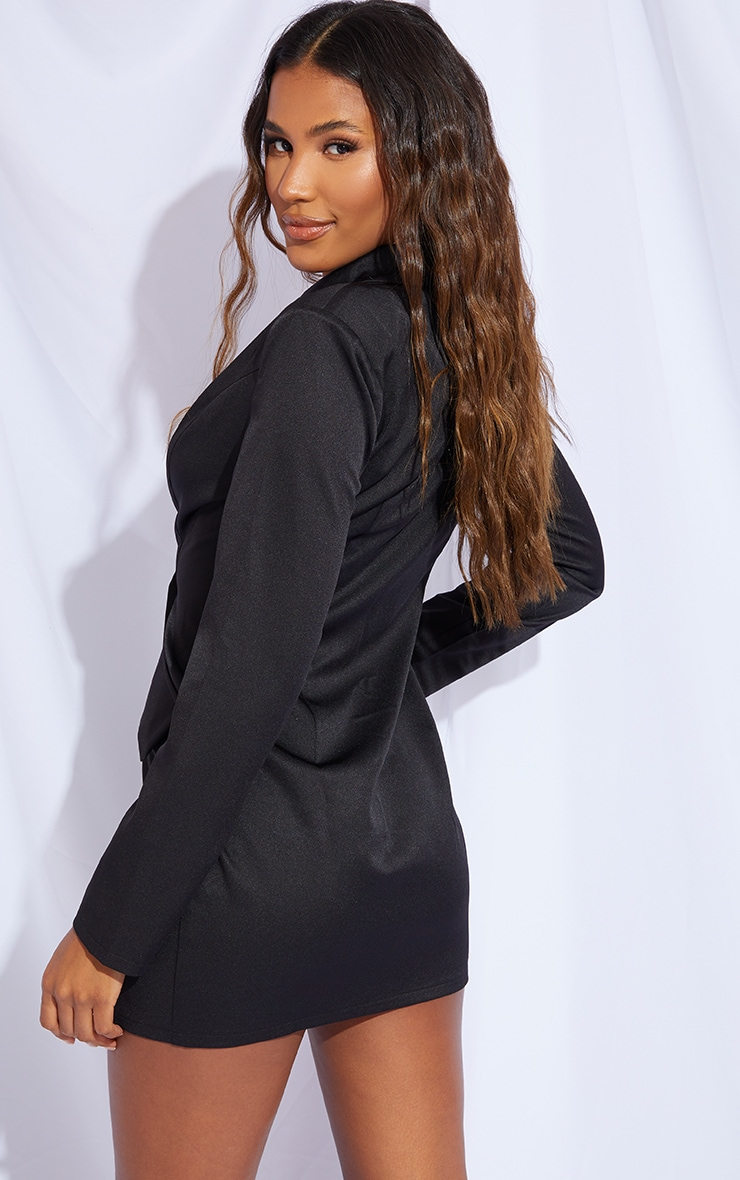 Black Long Sleeve Pinched Waist Button Detail Blazer Dress 2