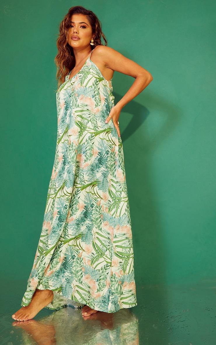Pale Khaki Leaf Print Low Back Oversized Maxi Beach Dress 3