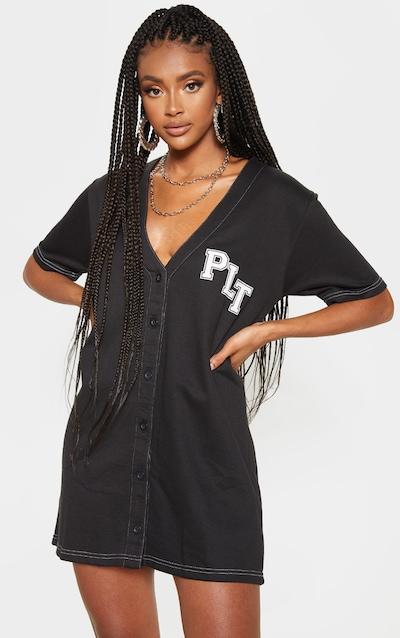 PRETTYLITTLETHING Black Slogan Contrast Oversized Sweat Baseball T Shirt Dress