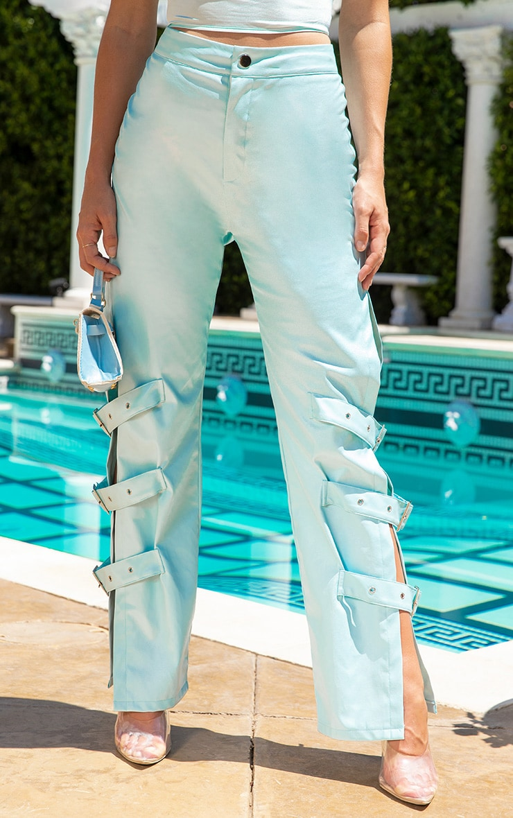Baby Blue Faux Leather Buckle Strap Detail Trouser 2