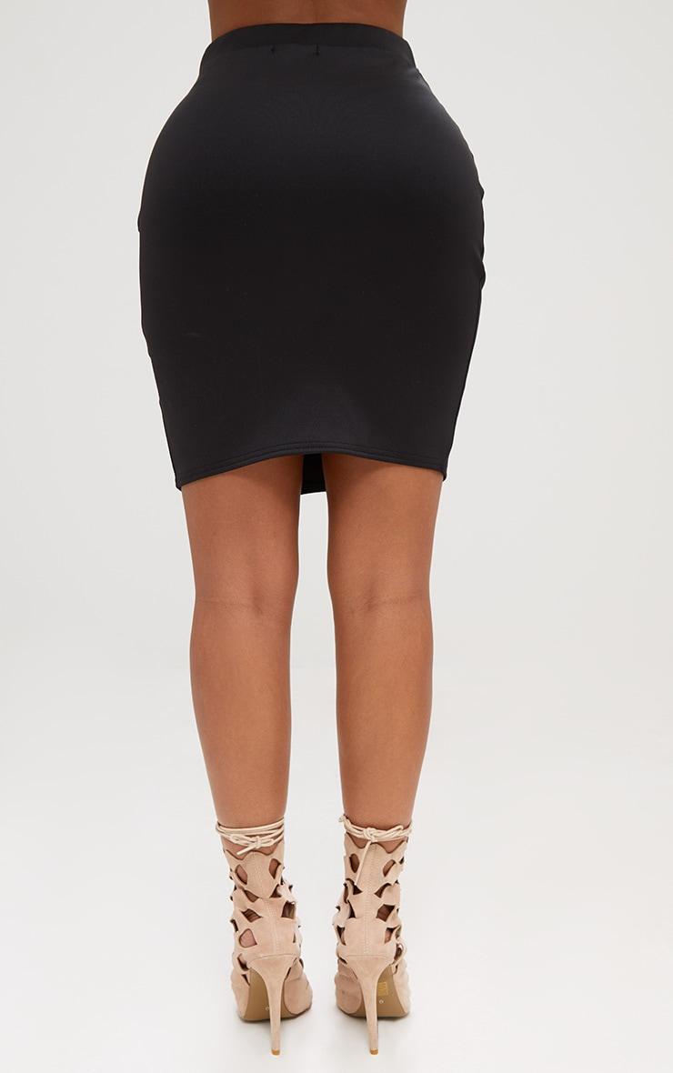 Shape Black Basic Mini Split Front Skirt  4