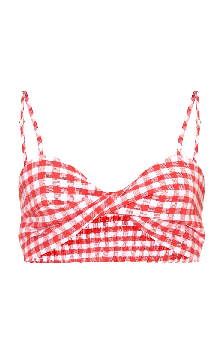 Red Gingham Twisted Detail Bralet 3