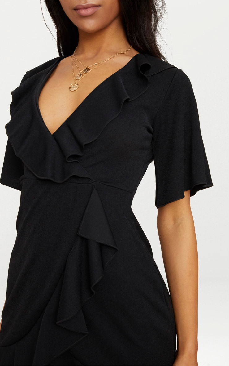 Black Frill Detail Wrap Dress 5