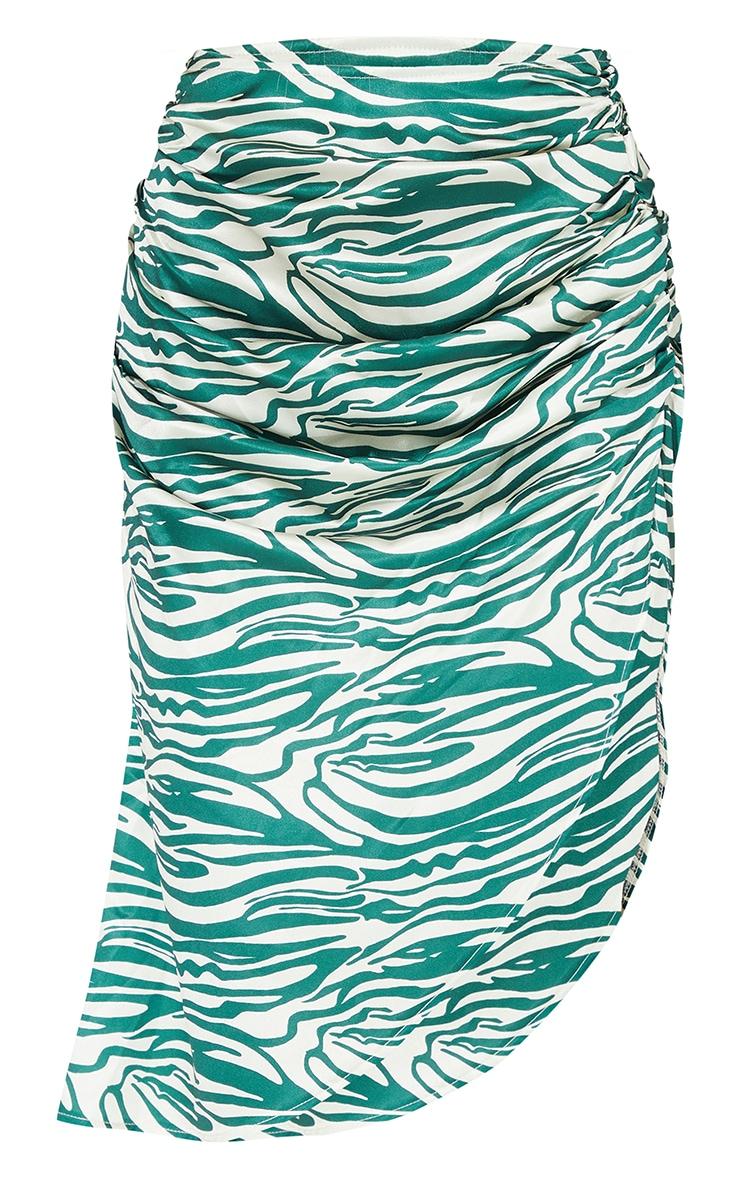 Green Zebra Printed Satin Ruched Detail Midi Skirt 5
