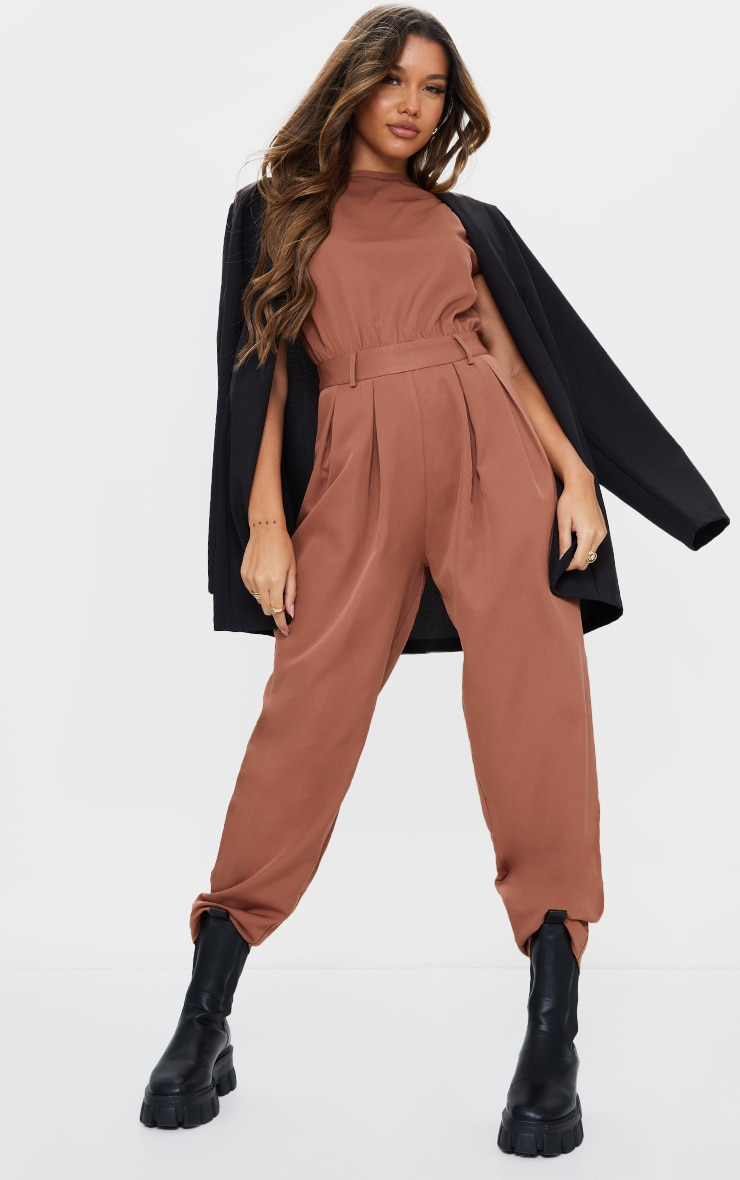 Chocolate Shoulder Pad Tailored Woven Jumpsuit 1