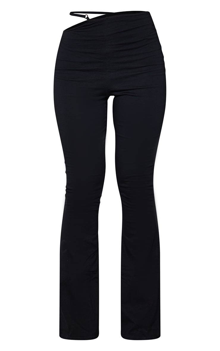 Black Cotton Elastane Cut Out Waist Flared Pants 5