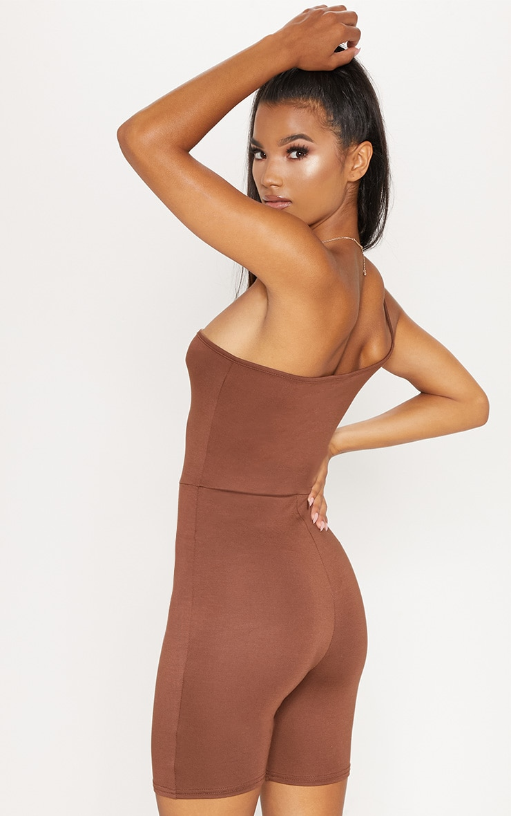 Chocolate Jersey One Shoulder Strappy Unitard 2