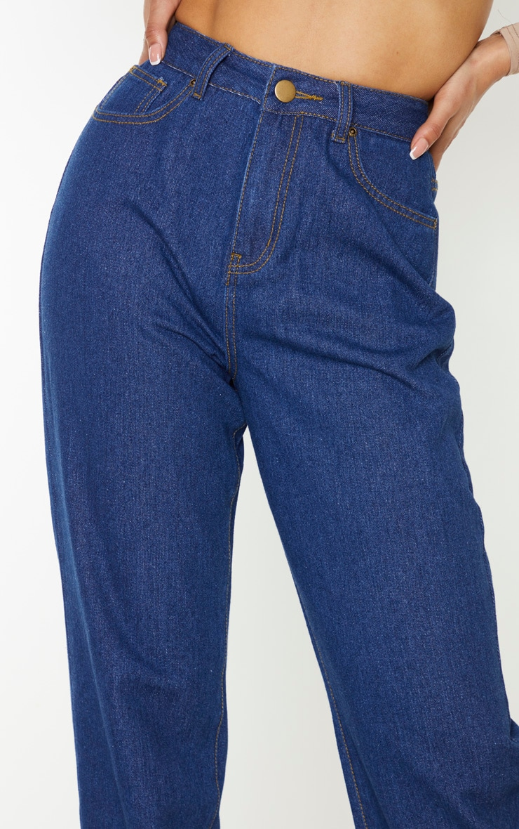 Tall Mid Blue Wash Basic Turn Up Mom Jeans 5