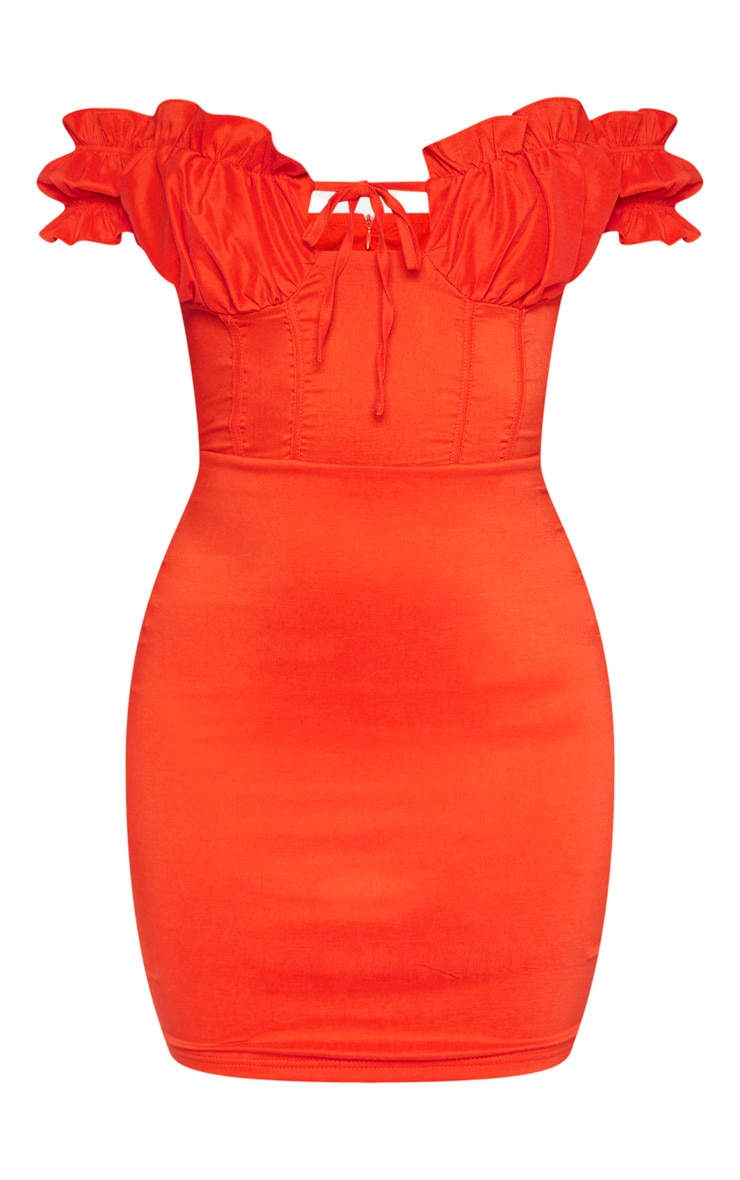 Red Bardot Frill Detail Bodycon Dress 3