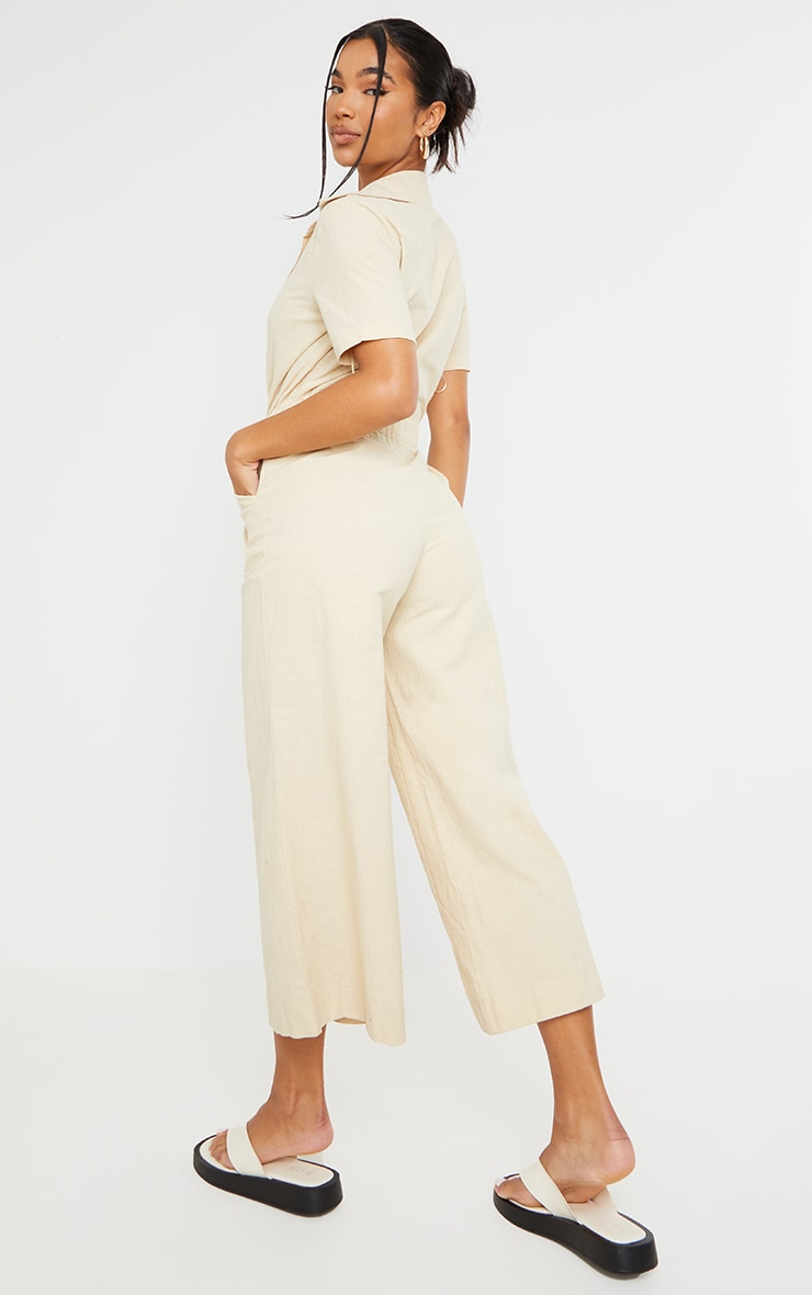 Stone Linen Look Tie Waist Short Sleeve Shirt Jumpsuit 2