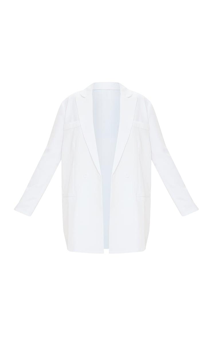 Petite White Oversized Long Sleeve Suit Blazer 5
