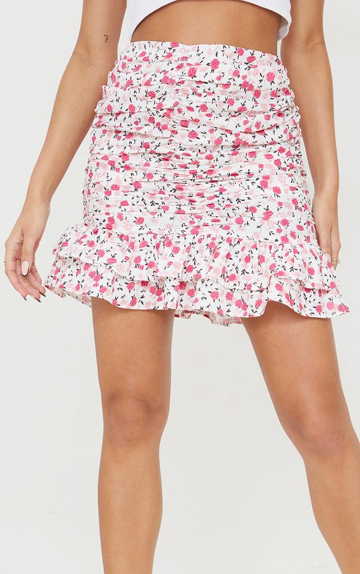 Pink Botanical Floral Ruched Mini Skirt 5