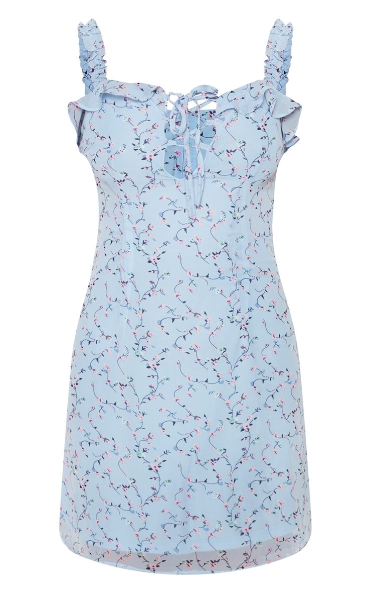 Blue Floral Print Lace Up Shift Dress 3
