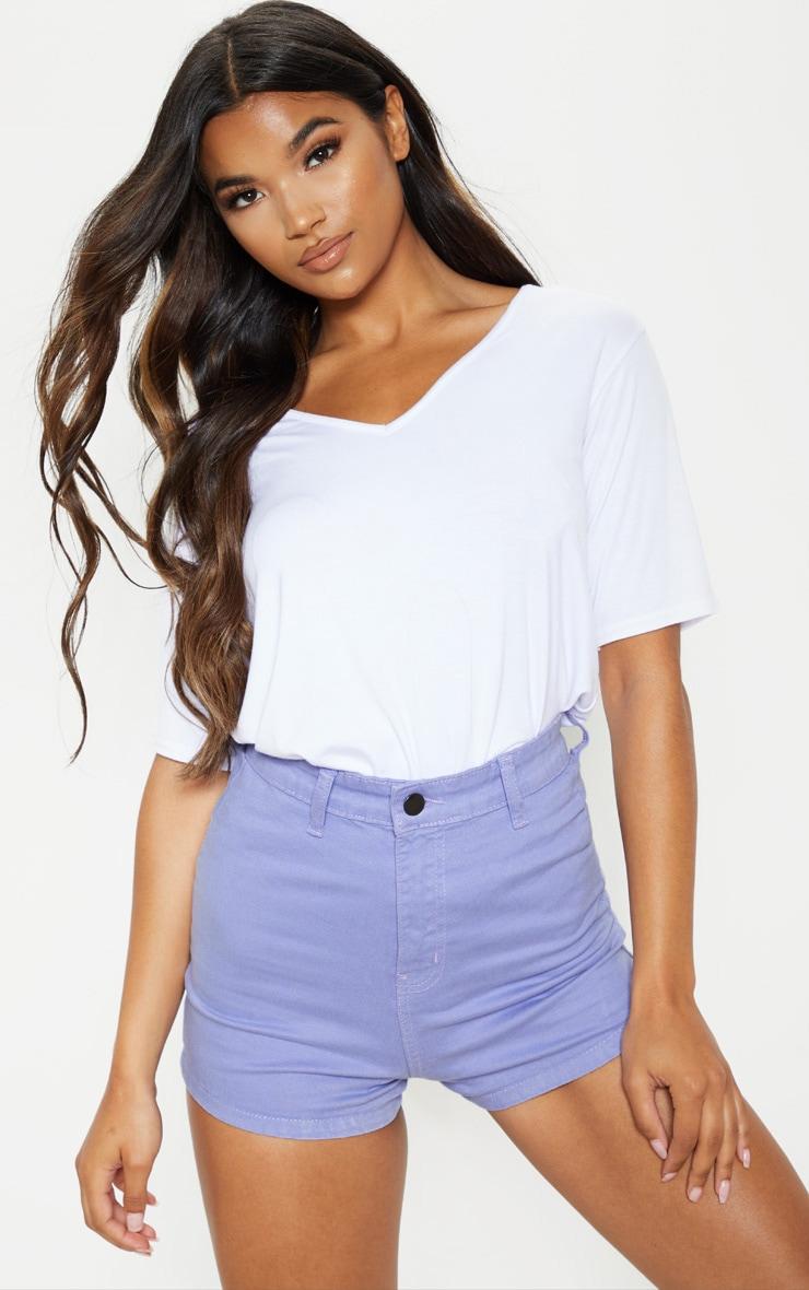 Lilac Disco Fit Denim Shorts 1