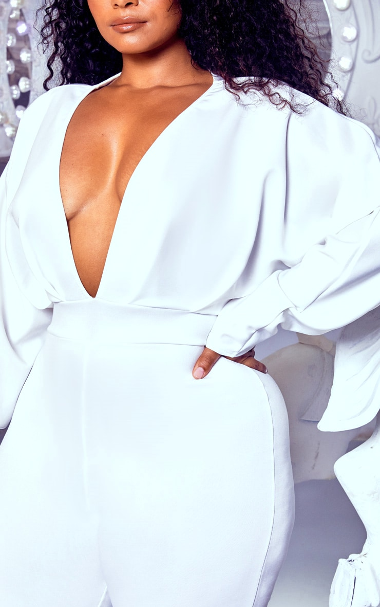 Plus White Pleated Balloon Sleeve Jumpsuit 5