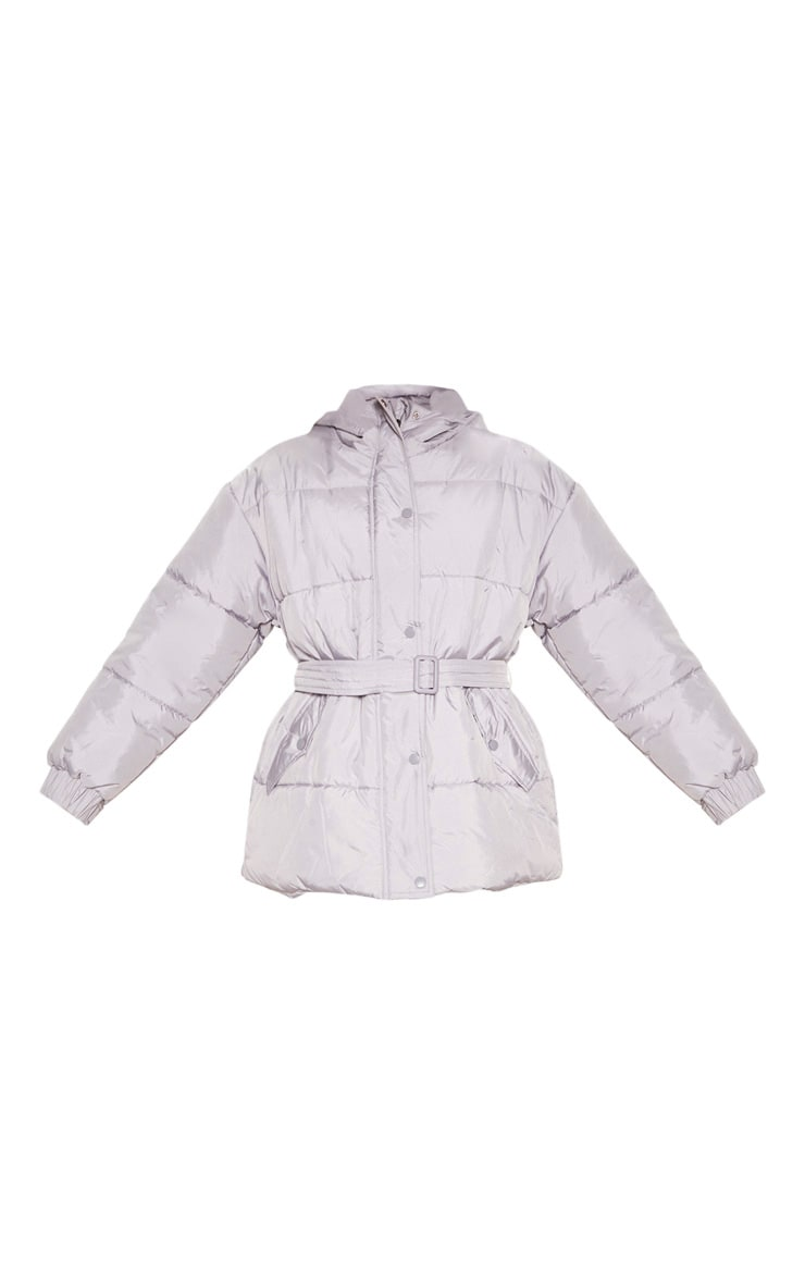 Ice Grey Belted Puffer 3