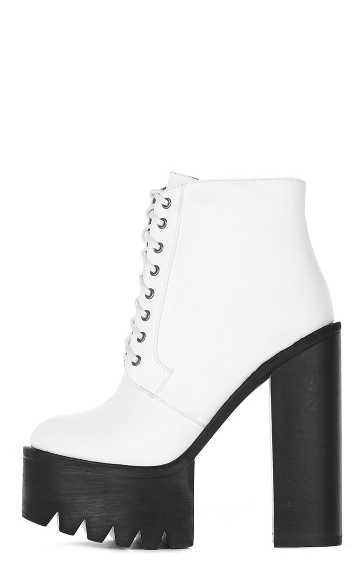 Wesley White Chunky Lace Up Boots 1