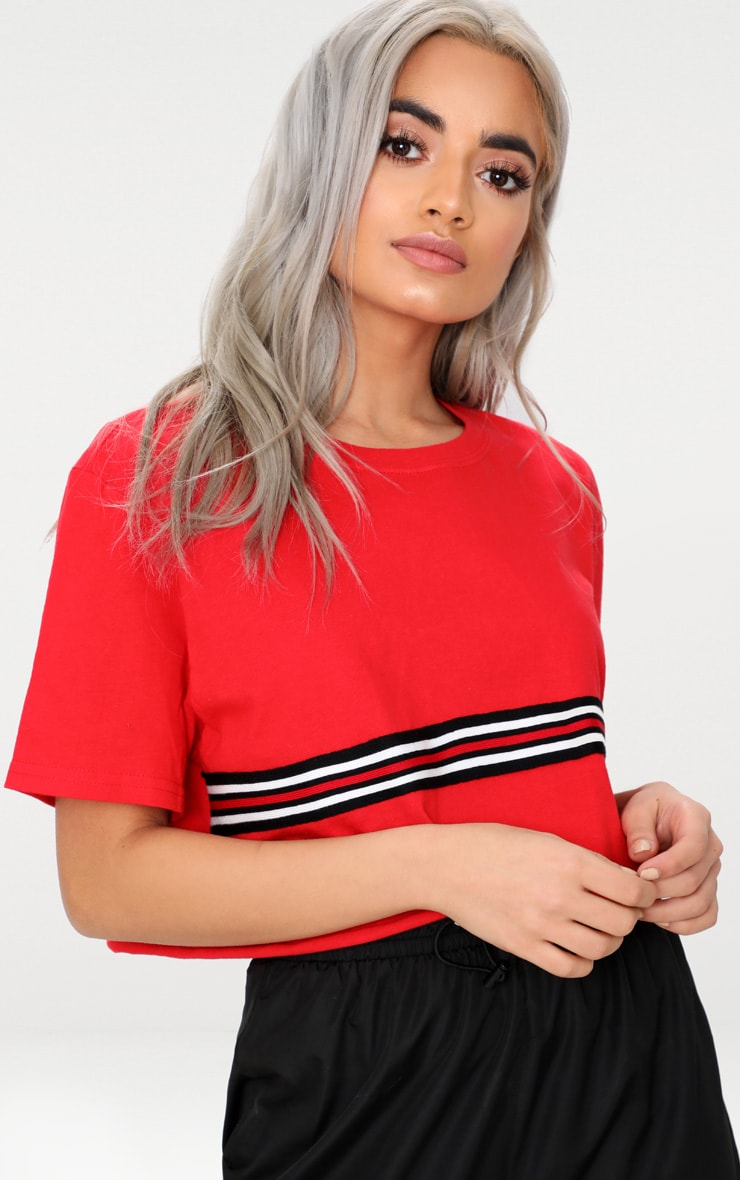 Red Sporty Tape Crop T Shirt  1