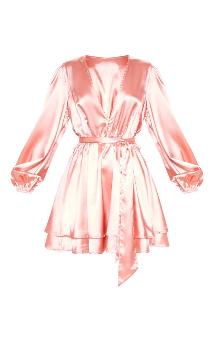 Rose Satin Balloon Sleeve Shift Dress 3