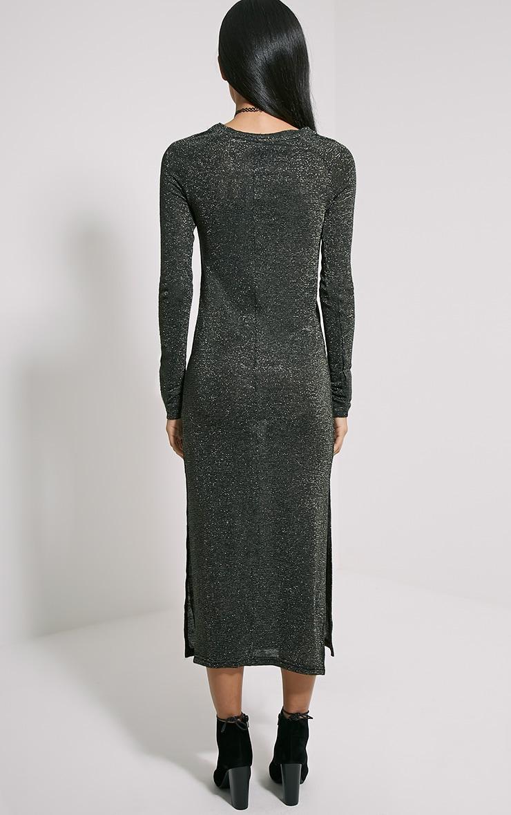 Ivria Black Side Split Knitted Dress 2