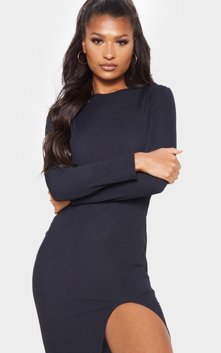 Black Rib Long Sleeve Split Front Midi Dress 5