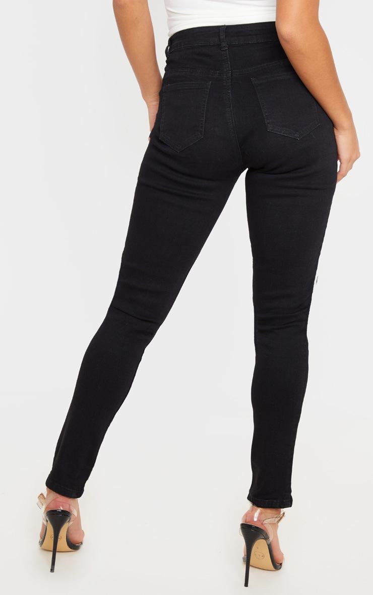 Petite - Jean skinny noir déchiré aux genoux 4