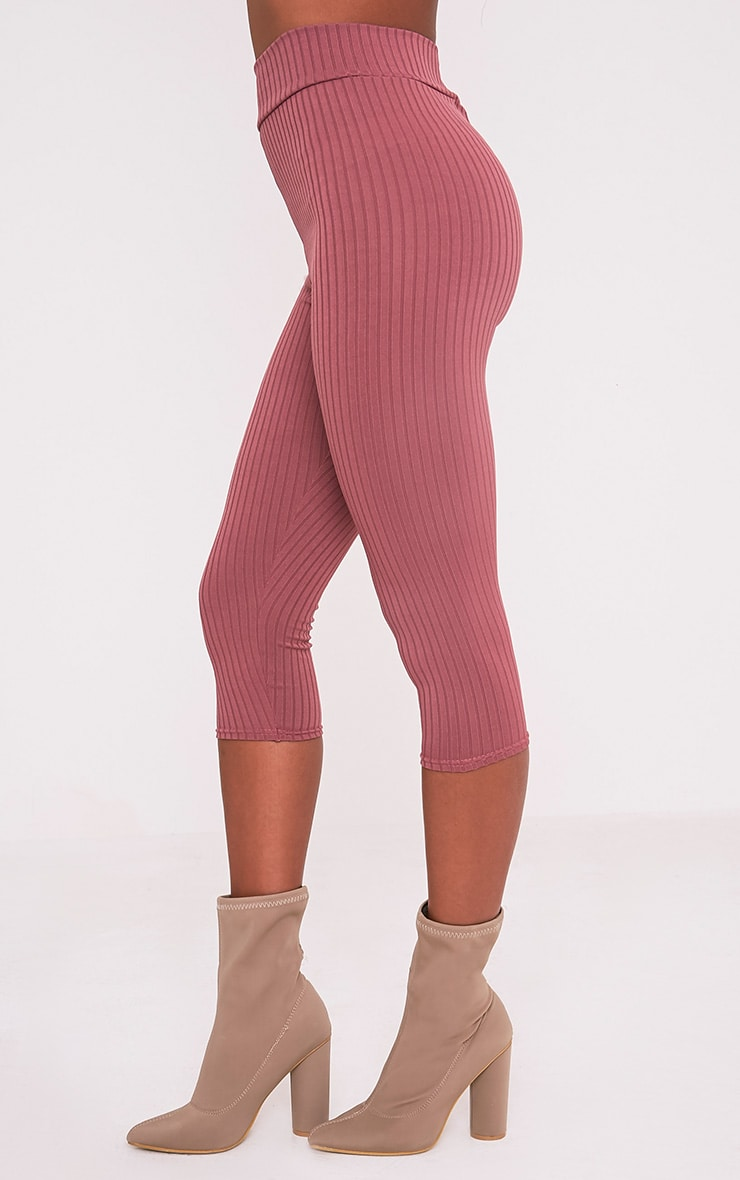 Harlie Rose Cropped Ribbed High Waisted Leggings 5
