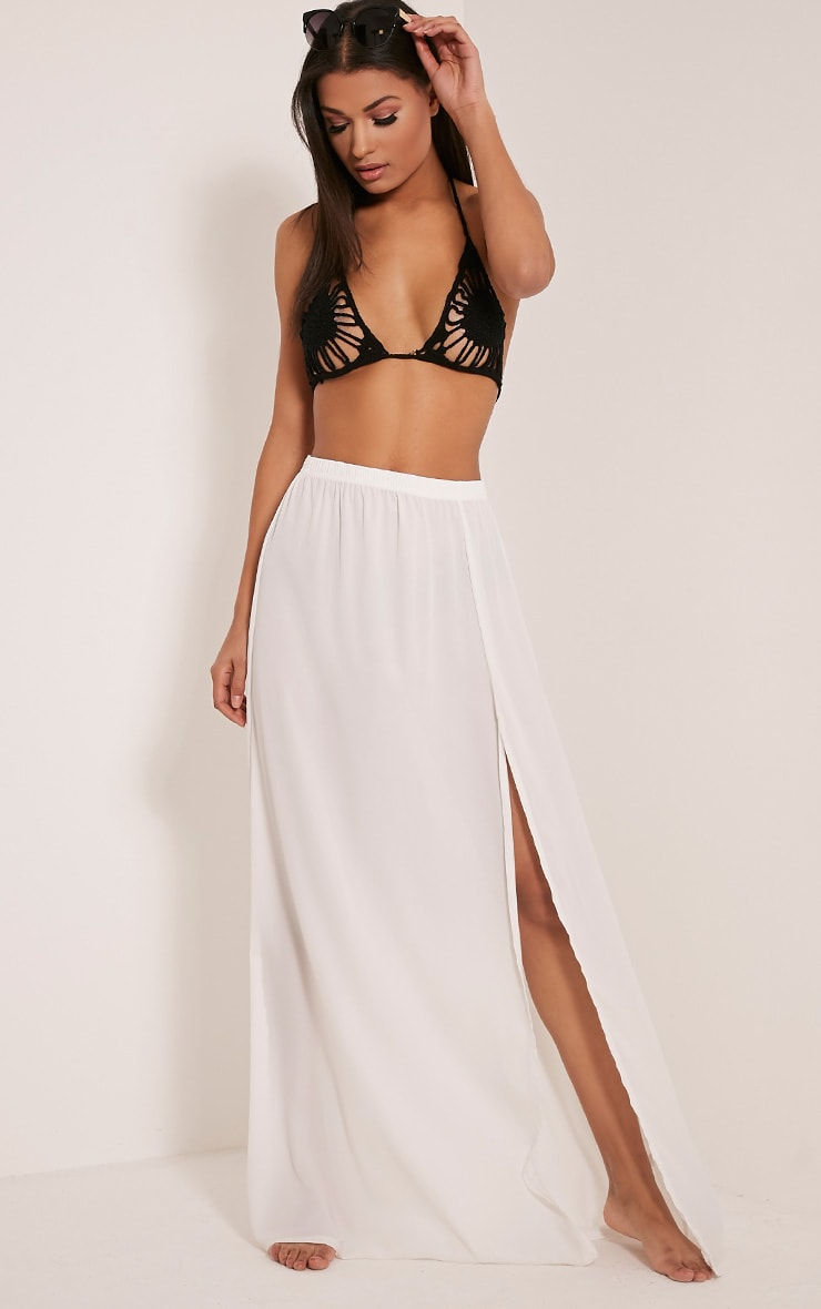 Samara Cream Chiffon Maxi Skirt 1
