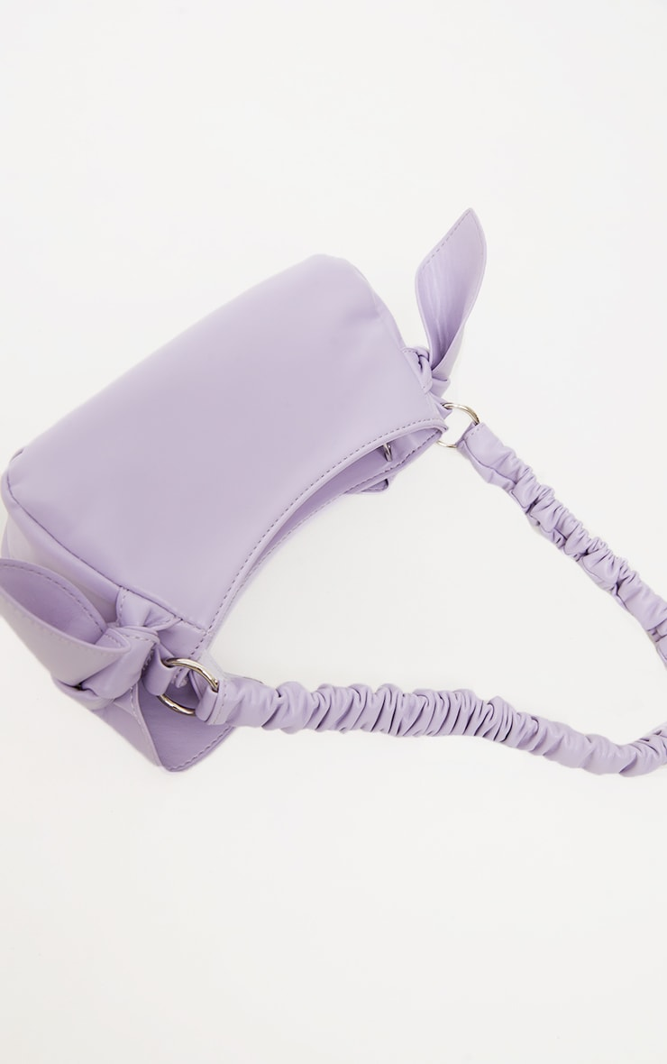 Lilac Ruched Handle Double Bow Shoulder Bag 2