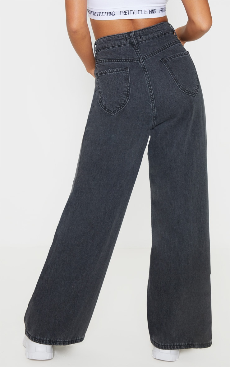 Petite Washed Black Wide Leg Jeans  4