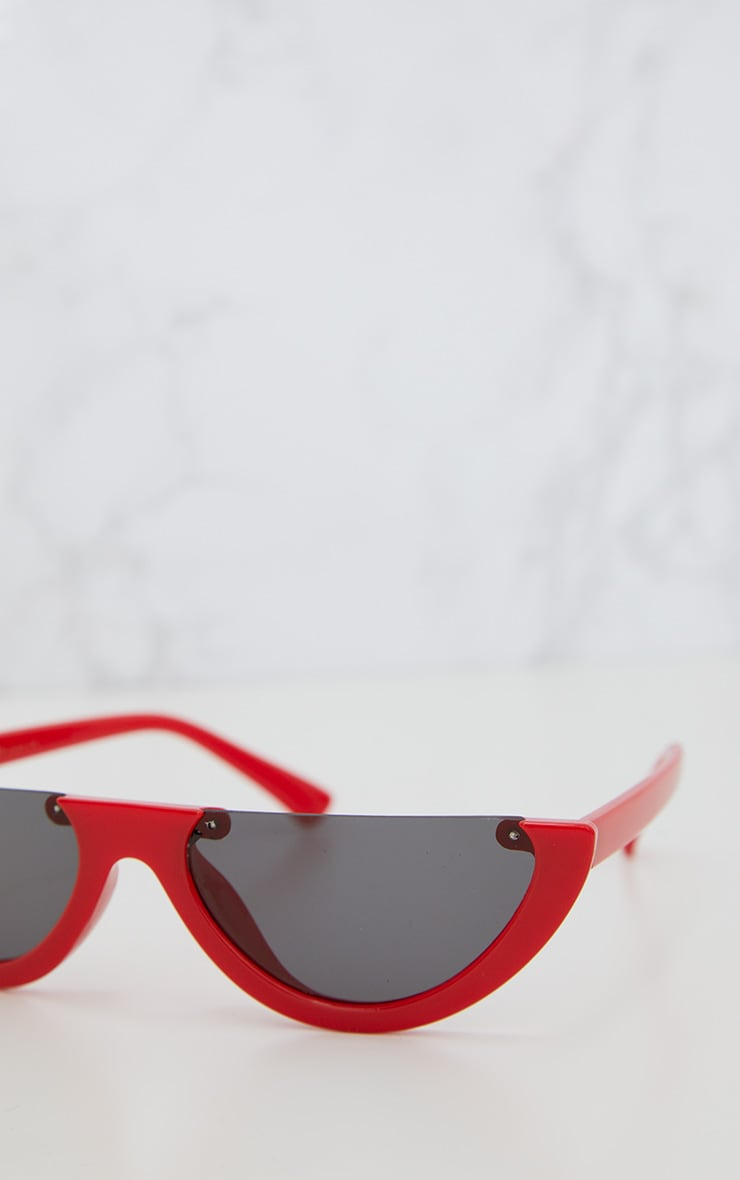 Red Rounded Half Frame Retro Sunglasses 5