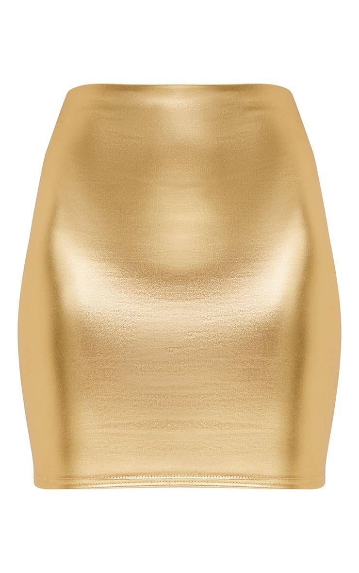 Petite Gold Foil Mini Skirt 3