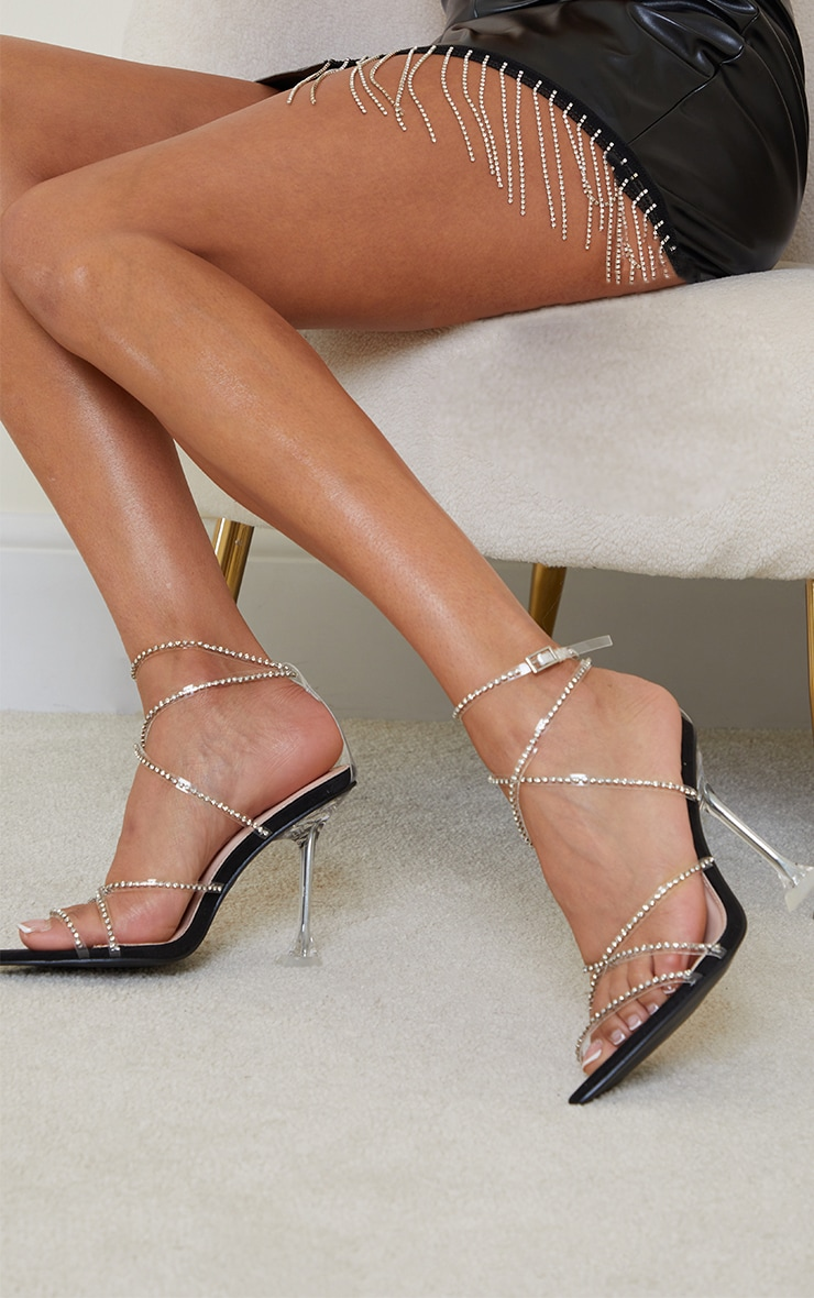Black Clear Diamante Strappy Detail Pointed Toe Cake Stand High Heels 1