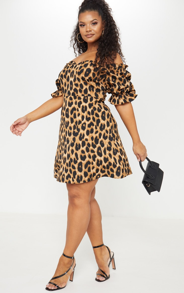 Plus Tan Leopard Print Puff Sleeve Shift Dress 4