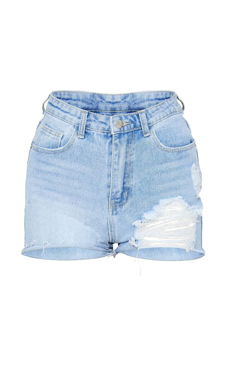 PRETTYLITTLETHING Light Blue Wash Ripped Denim Mom Shorts 6