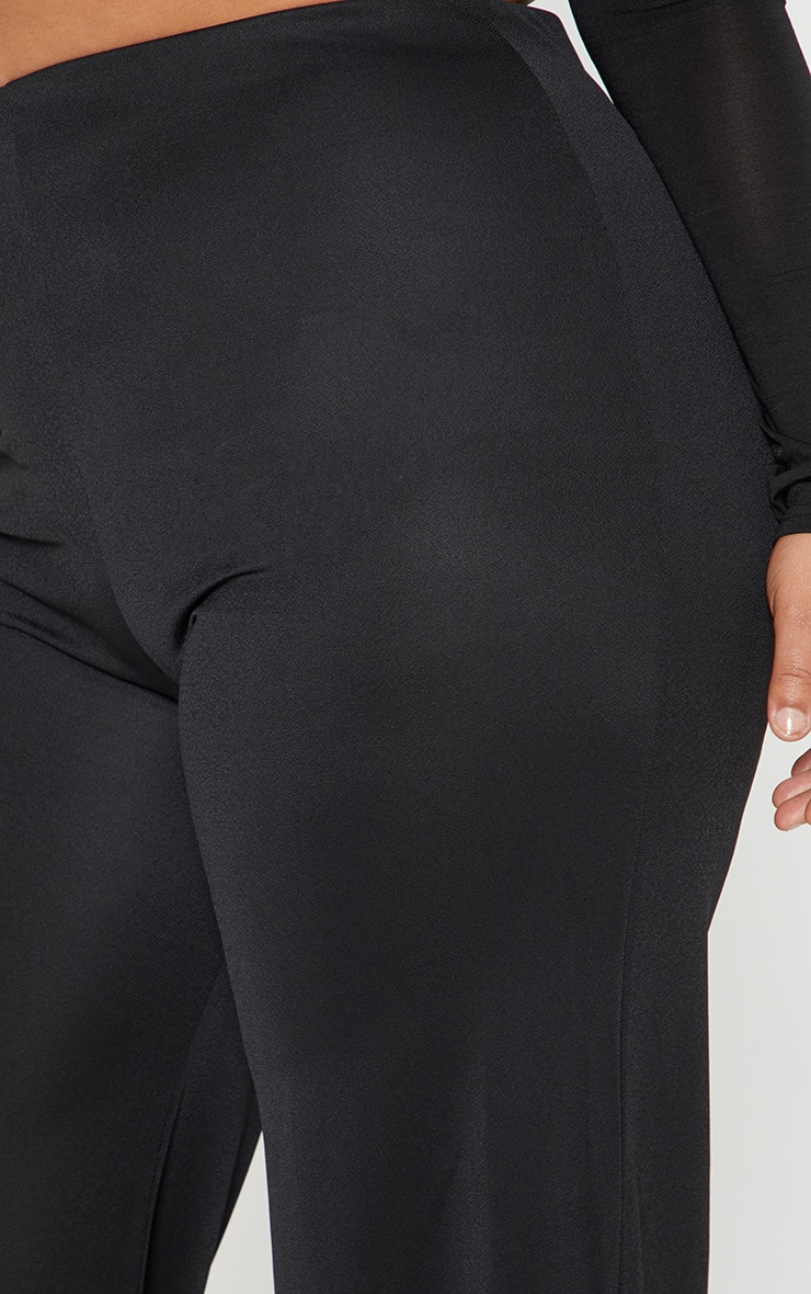 Plus Black High Waisted Wide Leg Trousers 4