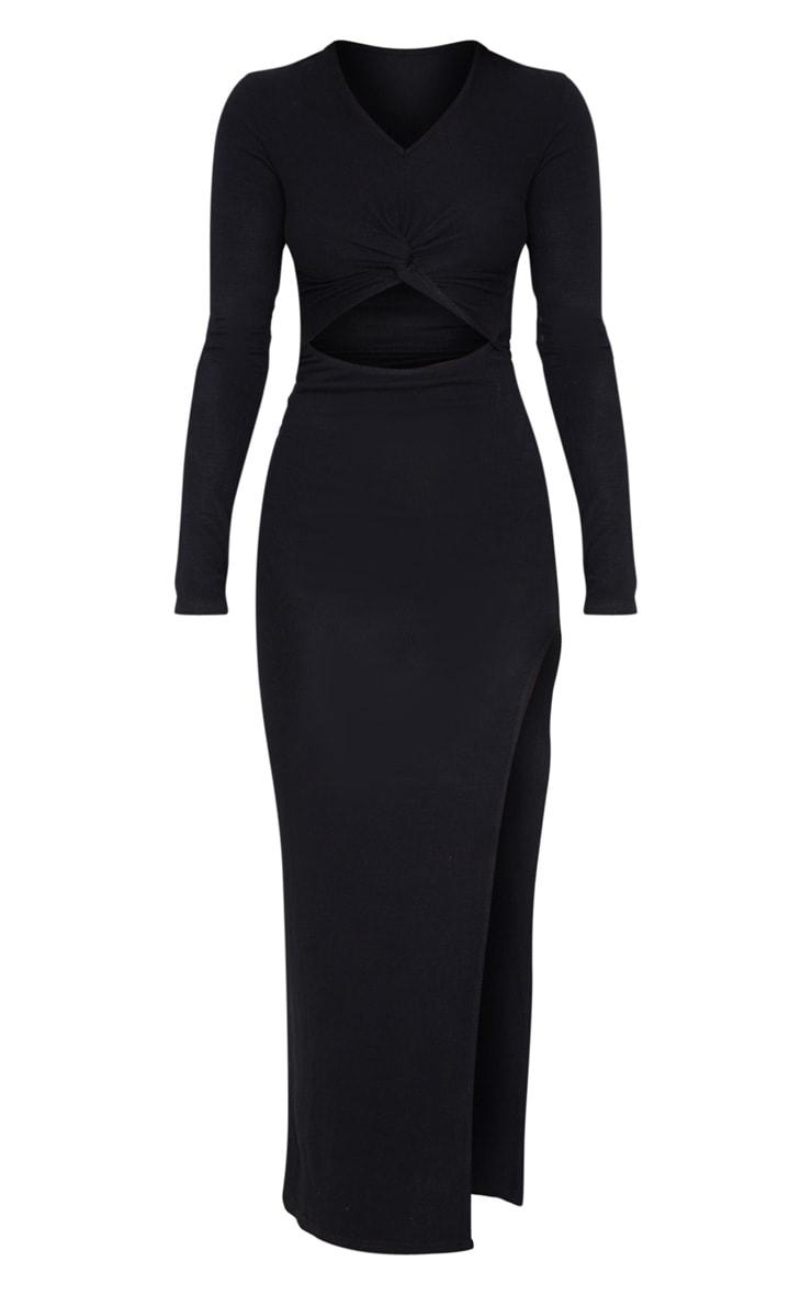 Black Soft Rib Knot Front Cut Out Split Midi Dress 4