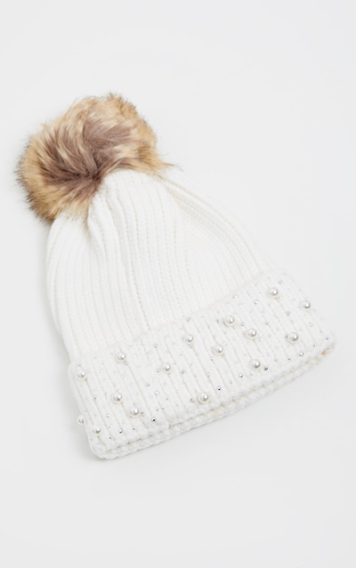 Cream Pearl And Diamante Contrast Pom Beanie Hat