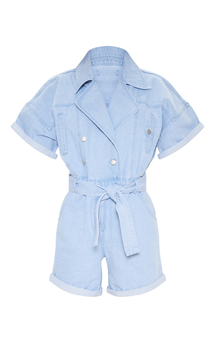 Blue Popper Detail Tie Waist Denim Romper 3