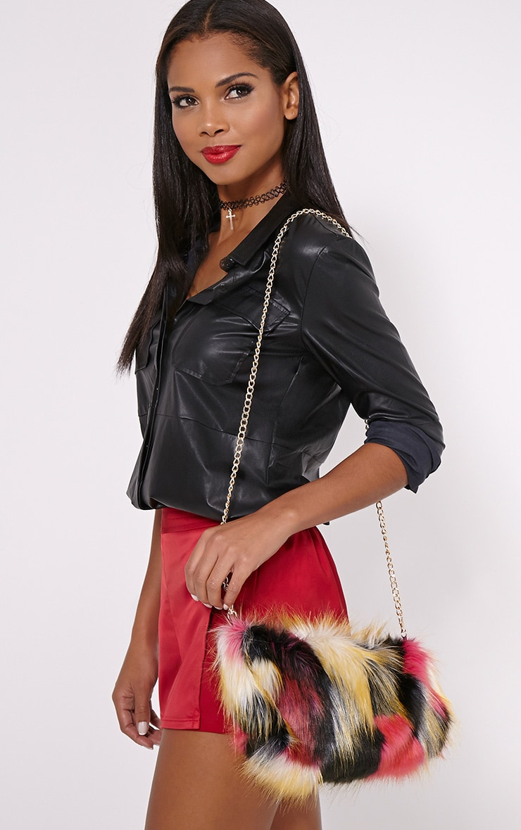 Marny Multi Faux Fur Chain Shoulder Bag 3