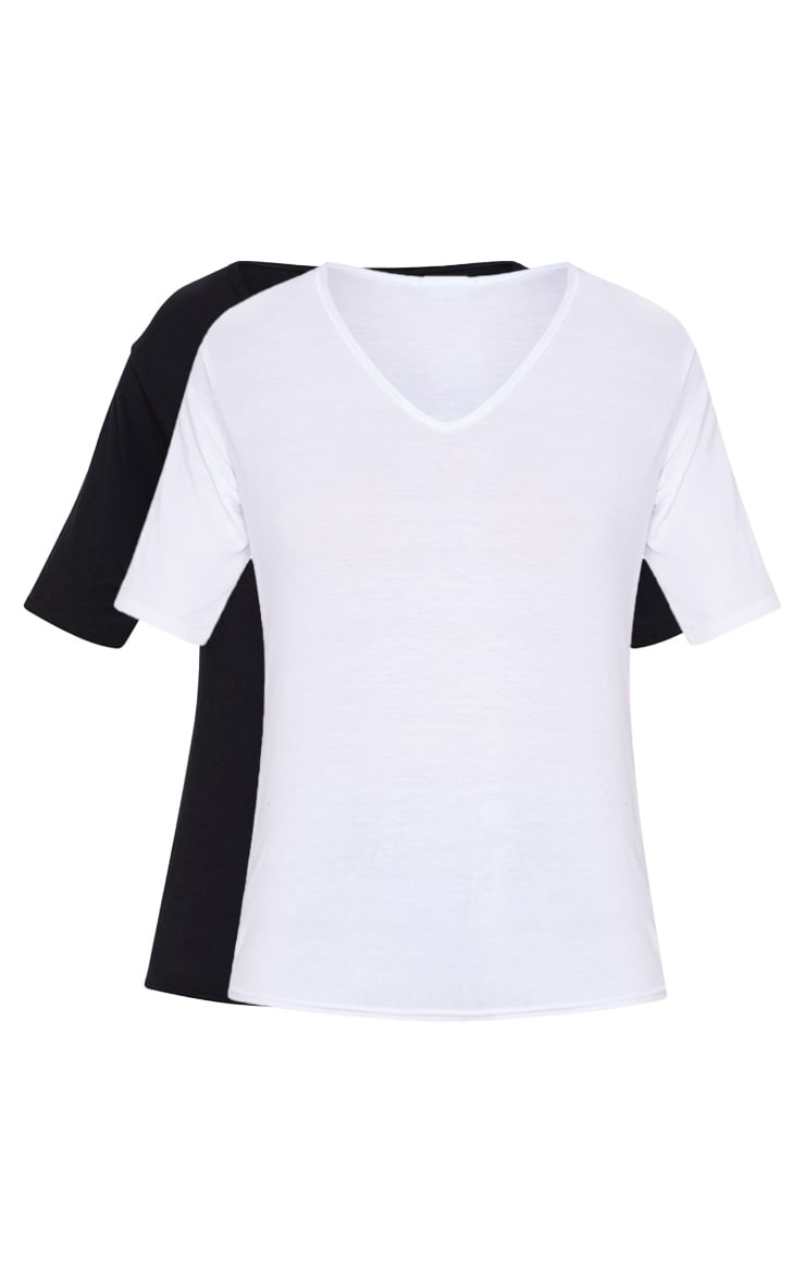 Basic Black & White V Neck T Shirt 2 Pack 5