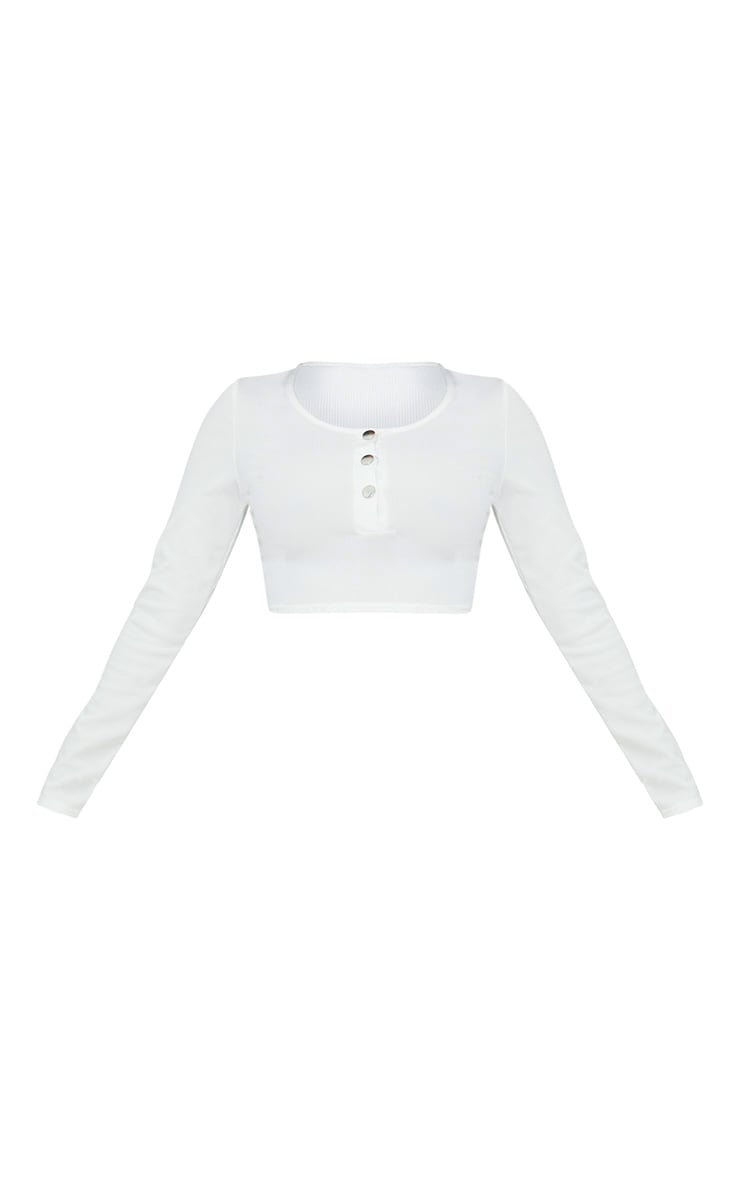 Shape White Ribbed Popper Detail Crop Top 3
