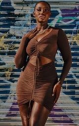 Chocolate Brown Slinky Ruched Front Cut Out Bodycon Dress 1
