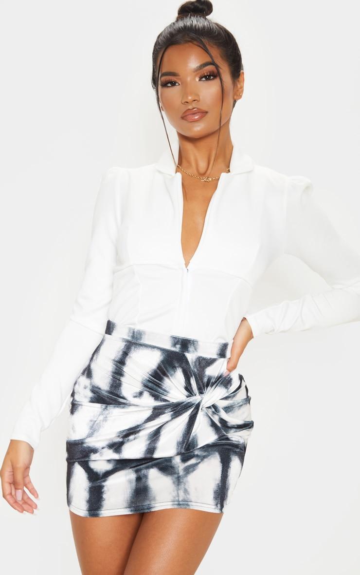 Black Velvet Tie Dye Twist Front Mini Skirt 5