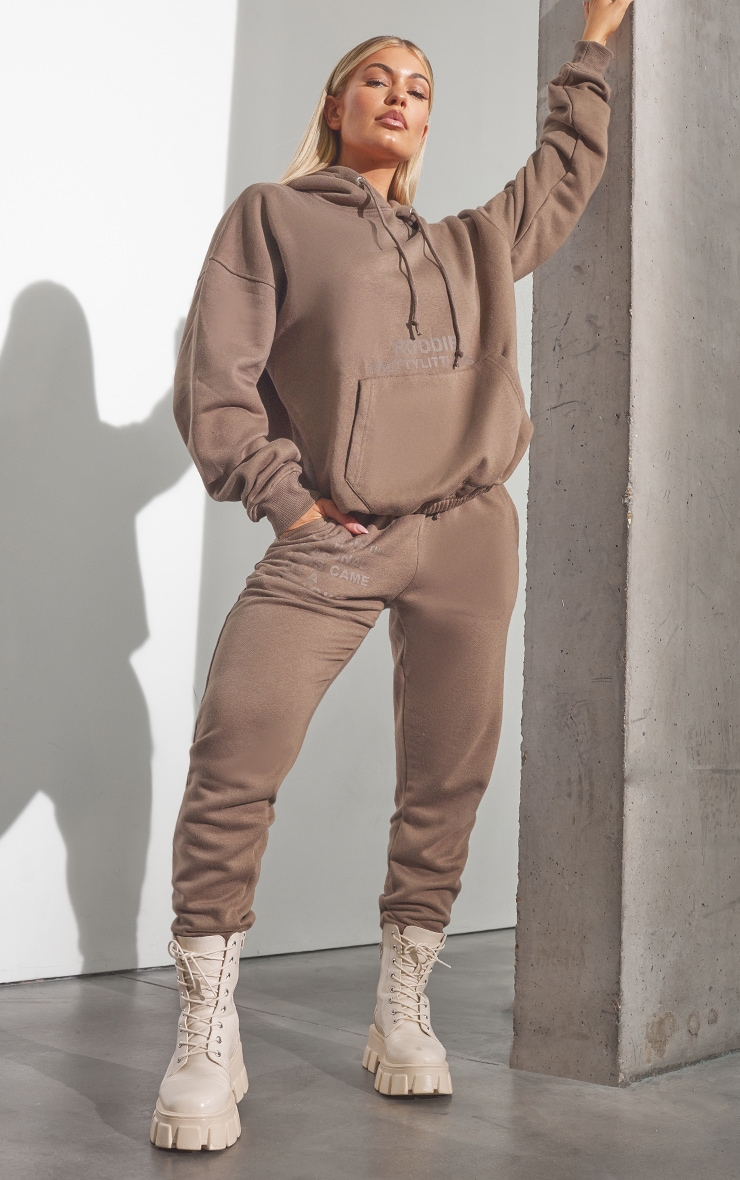 RENEW PRETTYLITTLETHING Chocolate Brown Oversized Cuffed Joggers 1