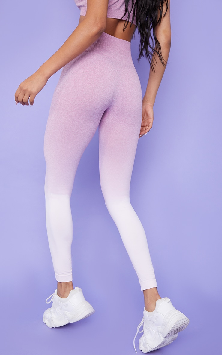 Lilac Ombre High Waist Gym Seamless Leggings 3