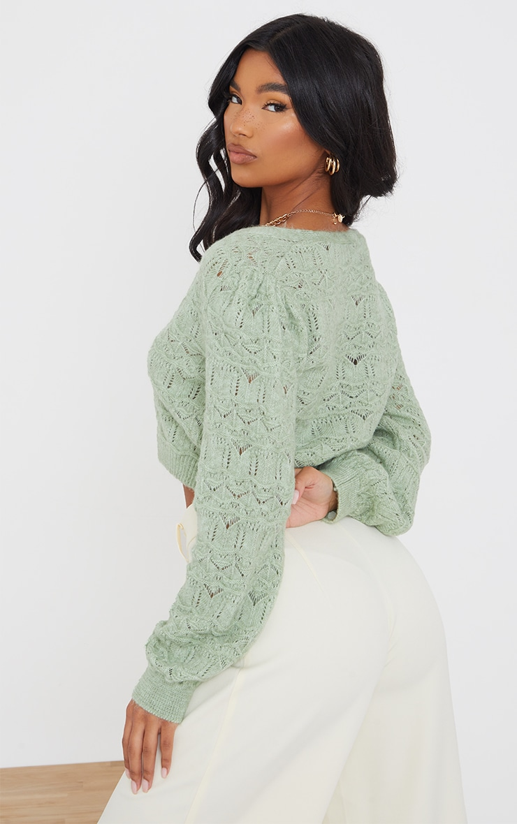 Sage Green Soft Pointelle Knitted Button Up Cardigan 2