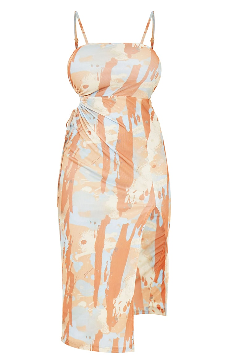 Multi Abstract Print Mesh Strappy Waist Cut Out Midaxi Dress 5